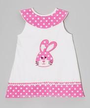 OEM supply Pink Polka Dot baby Bunny Dress - Toddler