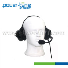 Heavy duty aviation headset pilot headphone with waterproof PTT and Kevlar reinfored PU cable for two way radio (PTE-740)
