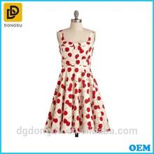 Ladies Fashion Cheery Printed Casual Vintage Clothing Dress