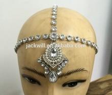 Latest design indian head chain crystal tear drop head chain bridal gemstone headband