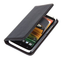 Shockproof wallet leather case for Htc one x with card slots