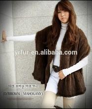 YR101 Ladies winter warm garment wear mink tail fur shawl