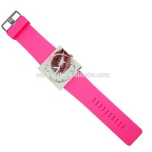 Pink color with red lip printing stamp watch ladies fashion watch
