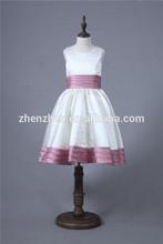 Elegant FGD-001 White and Purple Ruffled Sash Simple Satin Flower Girl Gowns