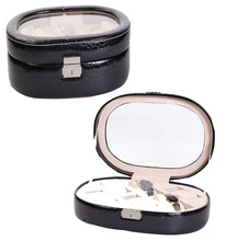 multiple slots professional design glass window PU leather watch box with lock