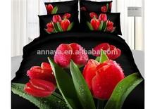 Duvet Cover, Pillow Case, Bed Sheet 4PCS Bedding Set 3D Tulip Floral Design King&Queen
