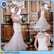 Laciness neckline Appliqued lace bodice wedding dress keyhole back with trumpet skirt