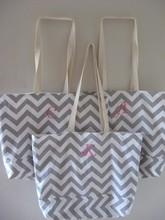 Large Cotton Canvas Gray Chevron Tote Bag Wholesale