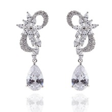 Delicate Fashion Leaf Drop Earring JS Plants Design Beauty Jewelry Cubic Zirconia Inlayed Chinese Earrings
