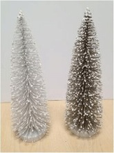10 inches white flocked pine needle PET standing deocration christmas table tree