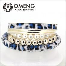Fashion 2015 Leopard Design Blue Print Pearl Beads Bracelet