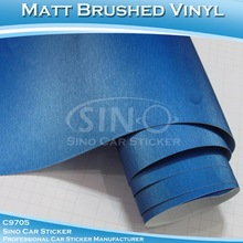 SINO Air Bubble Free 0.15mm Thick Dark Blue Brushed Steel Vinyl Car Wrap