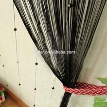 Black Door Window Room Divider Crystal Beads String Curtain with Strip Tassel