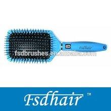 Rectangle black cushion hair brush with nylon pins