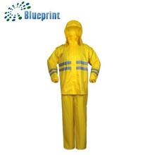 yellow reflective plastic PVC rain suit for roadway