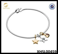 Fashion DIY Charms Bracelet 925 Silver Heart and Moon Bracelet