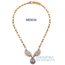 Morden Fashion Eagle Wings Design Necklace, Fake Gold Necklace for Trendy Ladies
