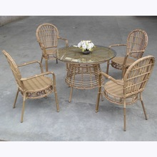 Bamboo Finish Aluminium round rattan Garden dining furniture