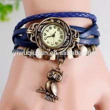 In Stock New Fashion Women silicon rubber nurse watch Bracelet Retro Vintage Owl Pendant Weave Wrap Quartz 7 Colors