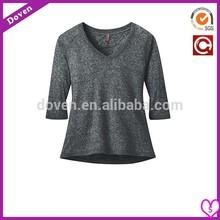 Customized Grey fashion V-neck T-shirt for women