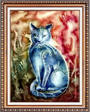 Fashion decoration 3D diamond painting cat designs embroidery for living room
