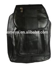 "Lambskin Leather 11"" Backpack Style Purse Black Handbag"