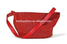 Elegant knitting style genuine leather lady shoulder bag