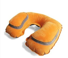 New design Orange Inflatable Travel Sleeping Neck Pillow with head support