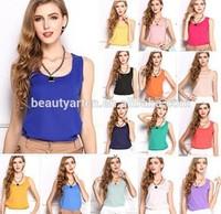 blusas femininas 2015 Tank Cute Candy Color Women Blouse Tropical Tops Casual Chiffon Blouse JH-BL-187
