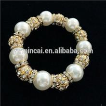 Handmade silver shamballa beaded 2015 jewelry pearl bracelet