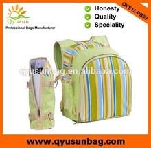 Green striped picnic rucksack bag with bottle cooler bag