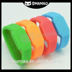 Bright color hot sale silicone slap usb bracelet pocket watch usb flash drive