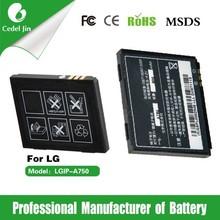 mobile phone battery making LGIP-A750 3.7v 800mah rechargeable li-ion battery for LG KE850 battery