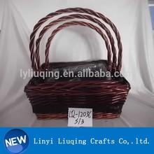 wholesale dark brown wicker gift/garden flower/fruit/storage basket with handle