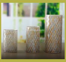 Glass cylinder mosaic vases set of 3