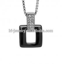 OCMP4060 Square Ceramic CZ Bail 925 Silver Pendant