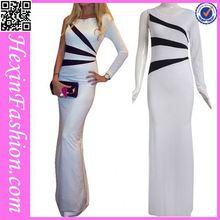White Elegant Celebrity Dress with Black Straps