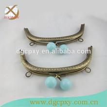 bronze fashion DIY sewing light blue fancy beads metal purse frames
