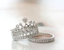 2015 new trendy 925 sterling silver princess/queen crown shape ring ,cubic zircon silver stack ring,engagement/wedding ring