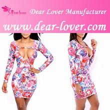 Sexy hueco hacia fuera mujeres formal floral hawaiano de la impresión vestido