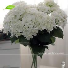 GNW FLH702 Decorative Artificial Flower White Hydrangea macrophylla Wedding Bouquet Decoration Table Centerpiece