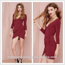 Nasty Gal BurgundyDeep Down Dress Ultra Flattering Plunging Neckline Asymmetrical Ruching Wrap Overlay New Fashion European 2015