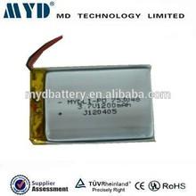 3.7v/1200mAh high capacity Li-polymer battery charging for portable television 753048