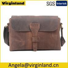 High Grade Crazy Horse Leather Mens Messenger Bag Shoulder Bag for Business $ Leisure
