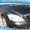 Sino bulle d'air sans enlever la colle 3d texturé noir en fibre de carbone de vinyle autocollant