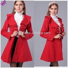 Ruffled collar flared coat woman Custom womens coat
