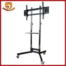 Durable 1.8m tall Roller base with DVD Rack and Height adjustable metal thick tubing Corner TV Stand