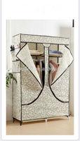 simple easycare cloth closet, folding non woven fabric oak wardrobe
