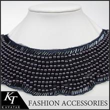 Elegant Beads Neck Designs For Ladies Suit With Collar