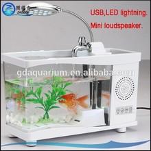 ALB-004 Promotional Mini Fish Tank Usb Aquarium with USB speaker Bluetooth